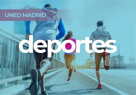 Portal Deportes. Tres jóvenes corriendo por la acera de un puente.