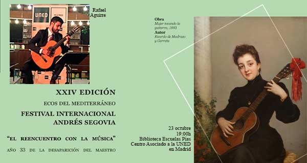 Invitación del Festivas sobre fondo verde, dos imágenes a la derecha una mujer de época con una guitarra española y a la izquierda la imagen del Rafael Aguirre en el escenario de la la Biblioteca de Escuelas Pías.