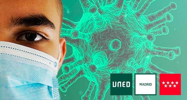 Test COVID19. Al fondo imagen del virus, a la izq un joven con mascarilla quirúrgica y los logos de UNED Madrid y CAM.
