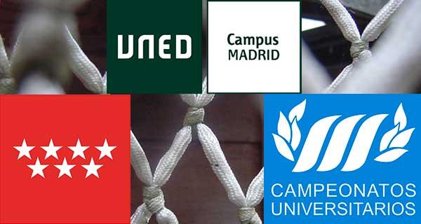 Con el fondo de la red de una canasta, logos de CAMPUS UNED Madrid, de la CAM y del Ayuntamiento.