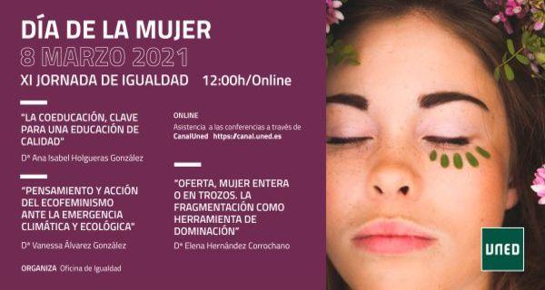 Programa del dia de la mujer. XI Jornada de Igualdad, fondo violeta con el programa del día e imagen de una joven con lagrimas colora verde en la mejilla.