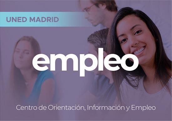 Portal EMPLEO UNED Madrid. Centro de Orientación, Información y Empleo. Tres personas en primer plano estudiante sonriente.