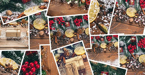 IV edición del Concurso de Tarjetas Navideñas 2019 para UNED Senior, imágenes navideñas con regalos, muérdago y adornos.
